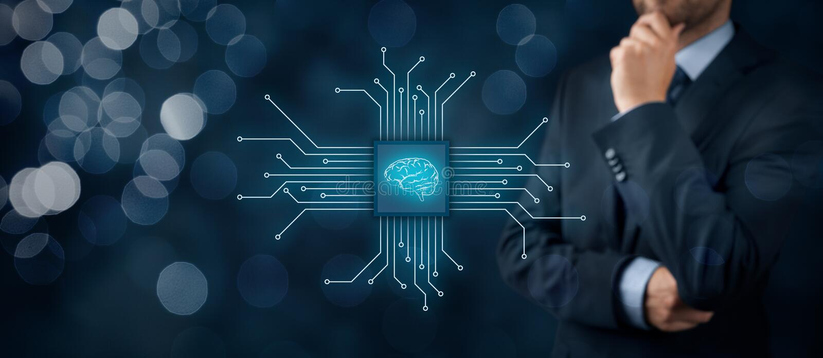 Artificial intelligence. AI, data mining, expert system software, genetic programming, machine learning, neural networks, nanotechnologies and another modern stock images