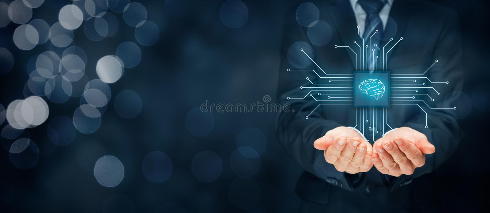Artificial intelligence AI. Data mining, expert system software, genetic programming, machine learning, neural networks, nanotechnologies and another modern royalty free stock image