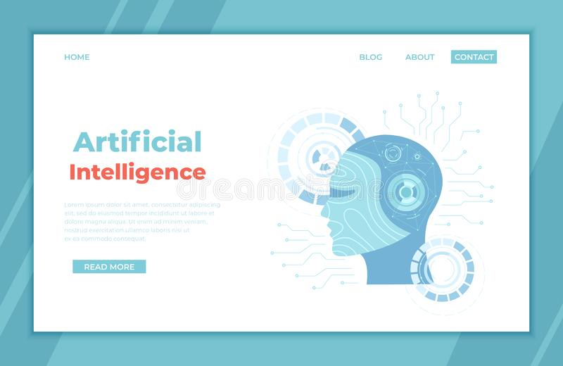 Artificial Intelligence AI, Future technology, Digital brain, Machine learning, Data mining. Robot head with a human face, brain. With digital circuit, neural royalty free illustration