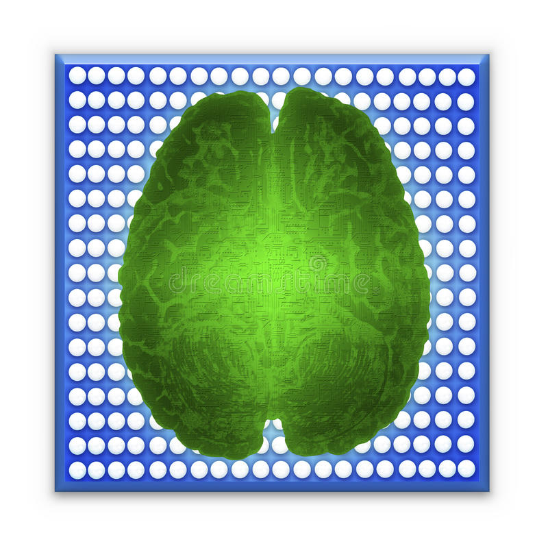 Artificial intelligence AI and High Tech Concept. Green glowing brain over blue microchip isolated on white royalty free stock photography