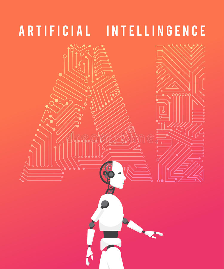 Artificial intelligence (AI) with high technology illustration d stock illustration