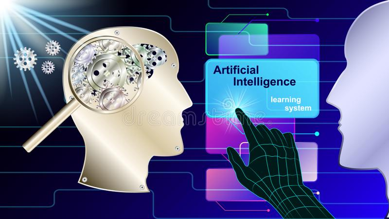Artificial intelligence, mechanical brain profile vector illustration