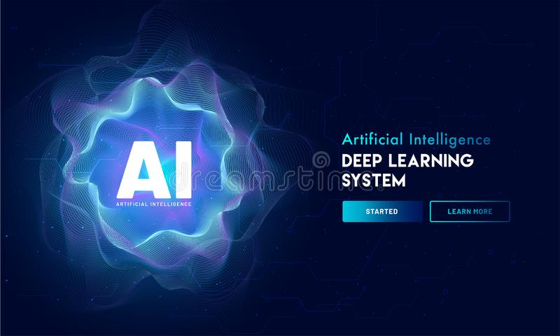 Artificial Intelligence (AI) landing page design, hi-tech blockchain network on neural network background. vector illustration