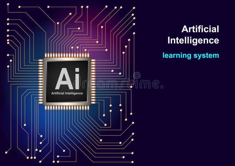 Artificial Intelligence AI landing system. Website template for deep learning concept stock illustration