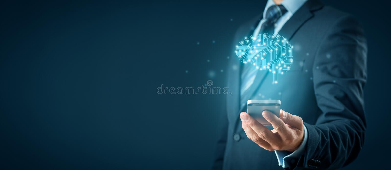 Artificial intelligence on smart phone. Artificial intelligence AI, machine deep learning, data mining, and another modern computer technologies concepts. Brain royalty free stock image