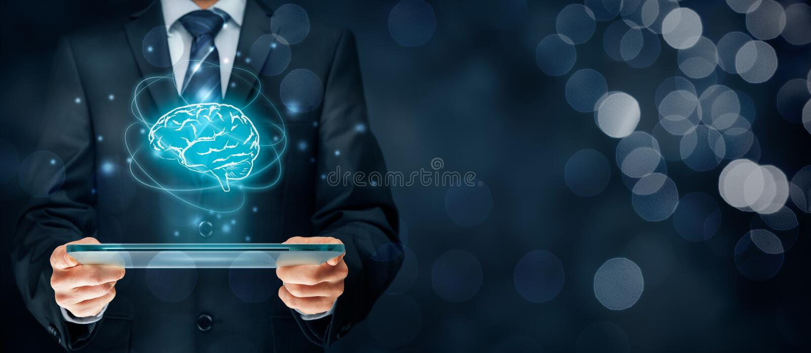 Artificial intelligence. AI, machine deep learning, data mining, expert system software, and another modern computer technologies concepts. Brain representing stock photos
