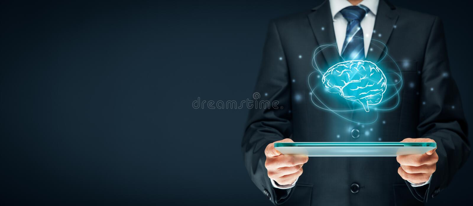Artificial intelligence. AI, machine deep learning, data mining, expert system software, and another modern computer technologies concepts. Brain representing royalty free stock photos