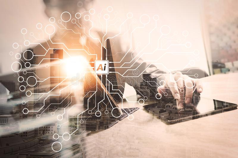 Double exposure of success businessman working in office with di. Artificial Intelligence (AI),machine learning with data mining technology on virtual dachboard royalty free stock photos