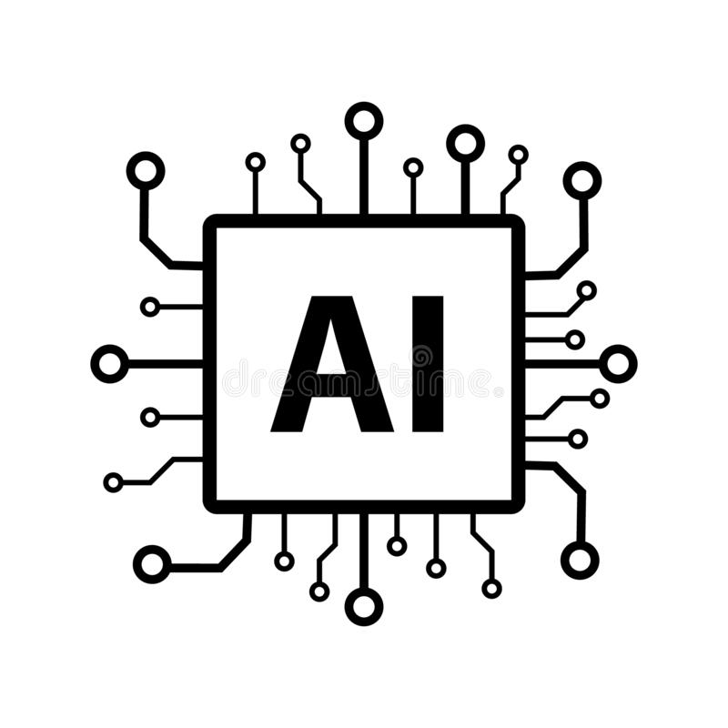 Artificial intelligence AI processor chip vector icon symbol for graphic design, logo, web site, social media, mobile app, ui. Illustration vector illustration