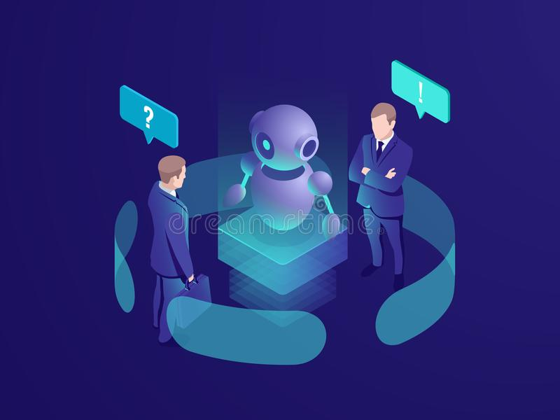 Artificial intelligence ai robot gives recommendation, human get automated response from chatbot, business consulting. System, isometric vector neon dark stock illustration