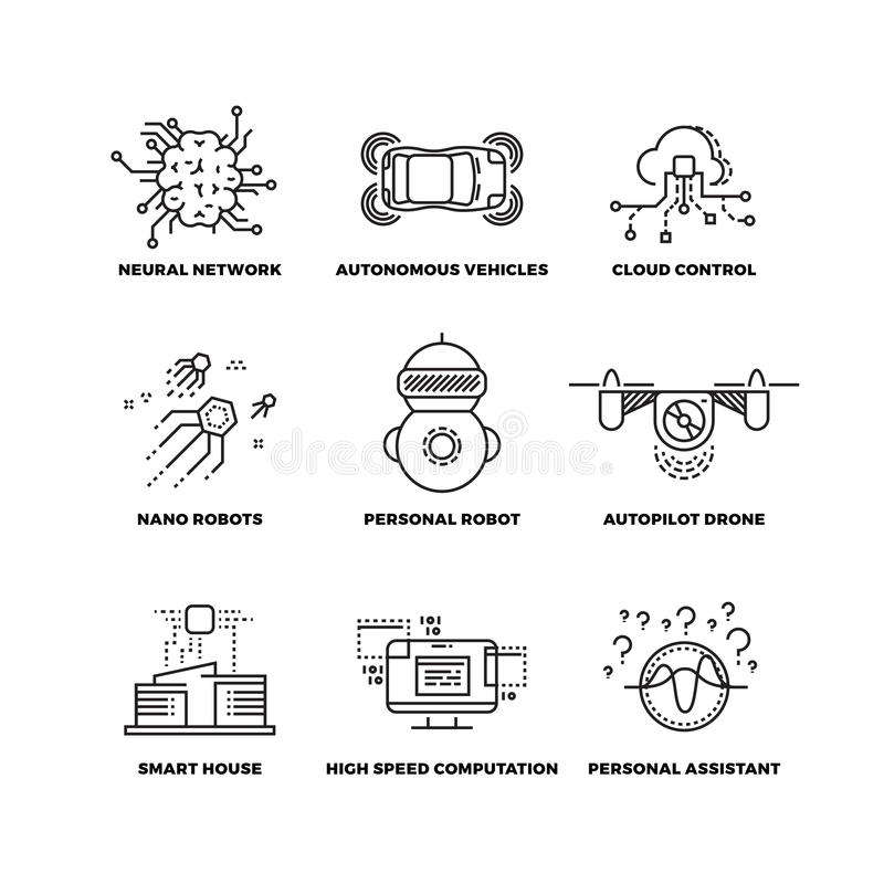 Artificial intelligence ai robot vector thin line icons vector illustration