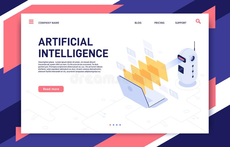 Artificial Intelligence analyzes files. AI processed database, machine learning and data processing isometric 3D vector royalty free illustration