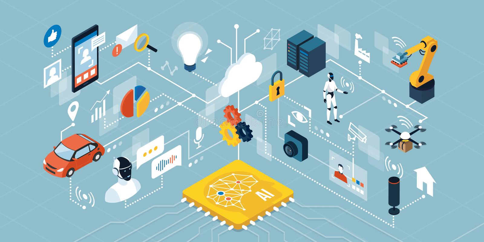 AI, automation and smart devices. Artificial intelligence applications, smart devices, robots and automation: network of isometric objects connecting together royalty free illustration