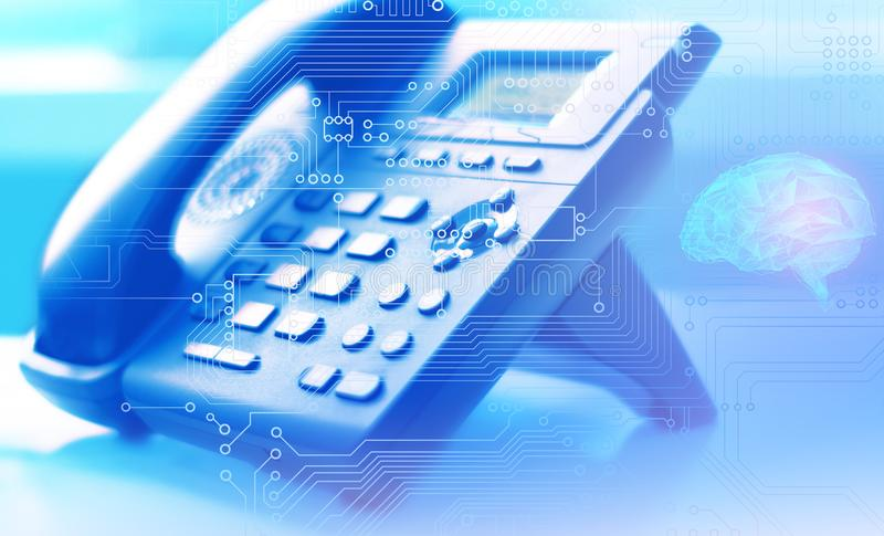 Artificial intelligence as a global network of Internet telephony and customer support worldwide with the help of a contact center royalty free stock photos