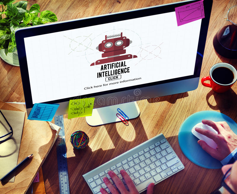 Artificial Intelligence Automation Machine Robot Concept stock photography