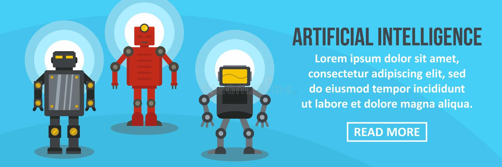 Artificial intelligence banner horizontal concept royalty free illustration