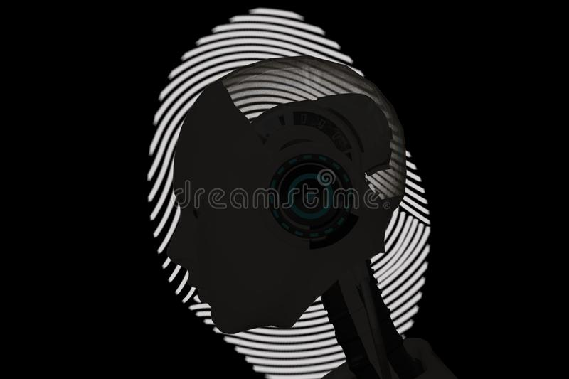 Artificial intelligence with biometrics and machine, deep learning technology concept for recognition people or robot stock image