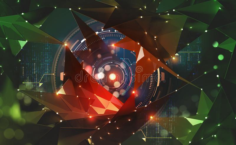 Artificial intelligence and blockchain concept. Global information flows. Hologram of the neural network. HUD display 3D illustration vector illustration
