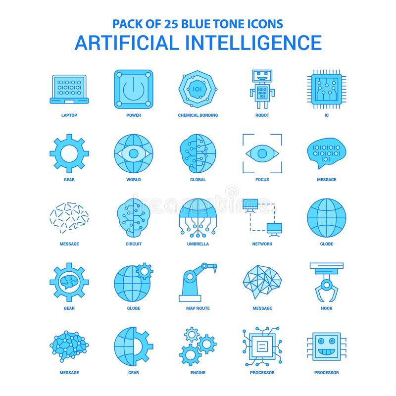 Artificial Intelligence Blue Tone Icon Pack - 25 Icon Sets stock illustration