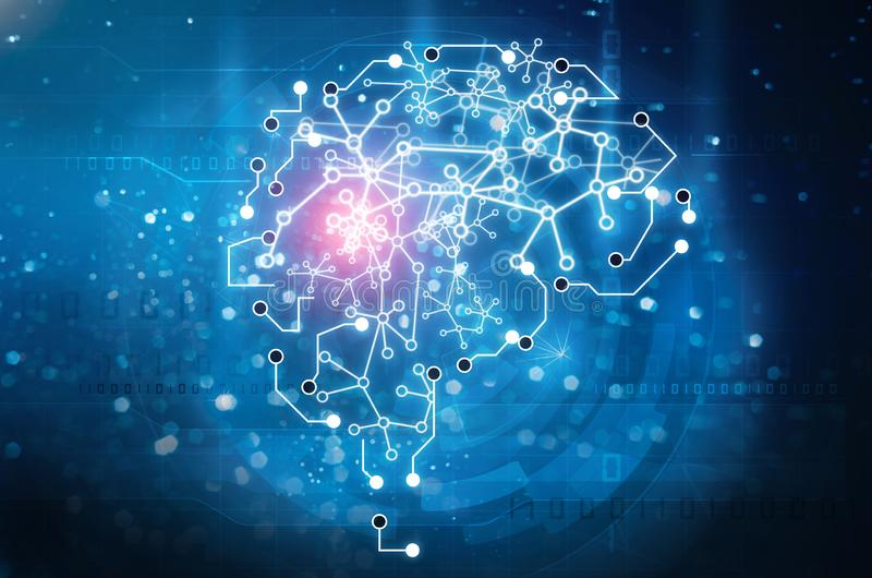 Artificial intelligence brain. Machine learning concept stock image