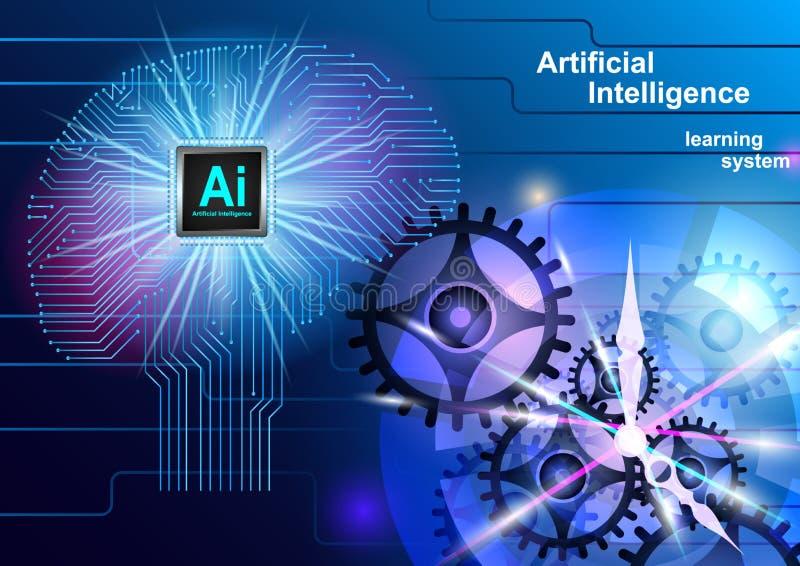 Artificial Intelligence, Brain vector illustration