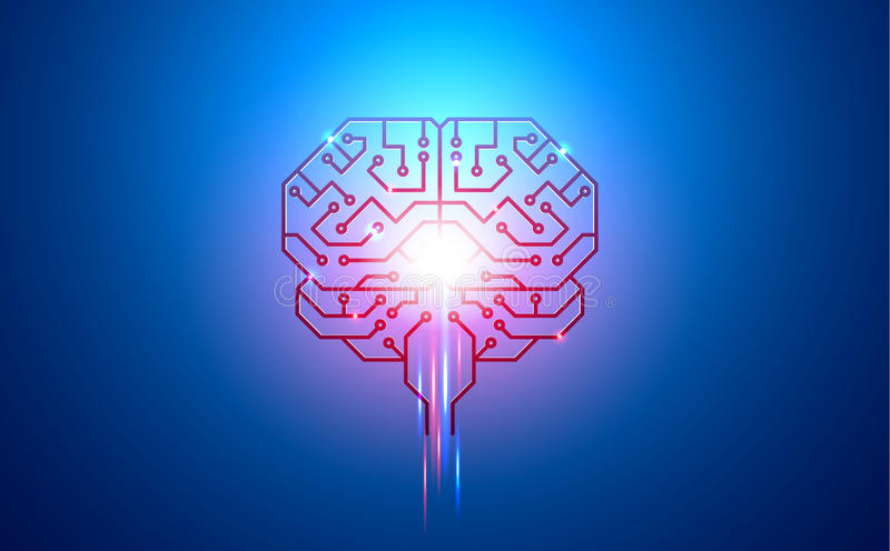 Artificial intelligence, brain, circuit Board, conductors, pads, and neural signals on a blue background stock illustration