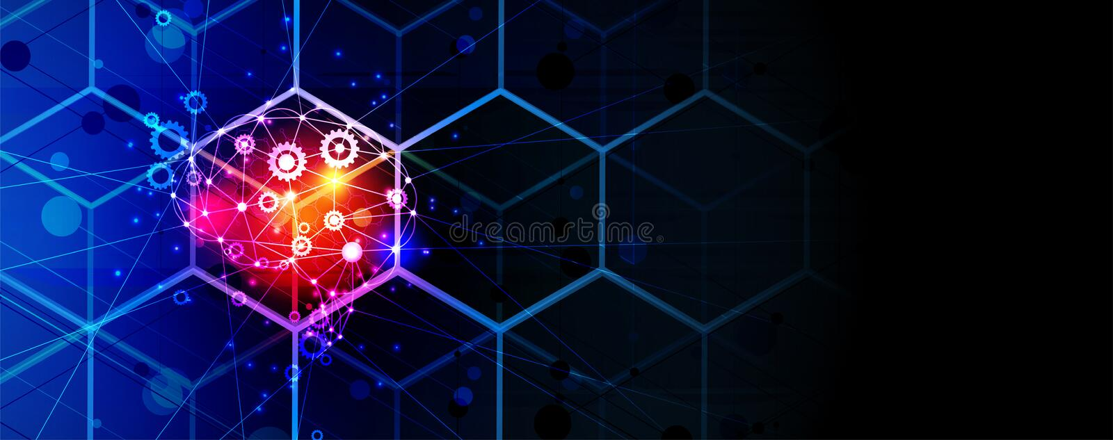 Artificial intelligence brain in cube. Technology web background. Virtual conc vector illustration