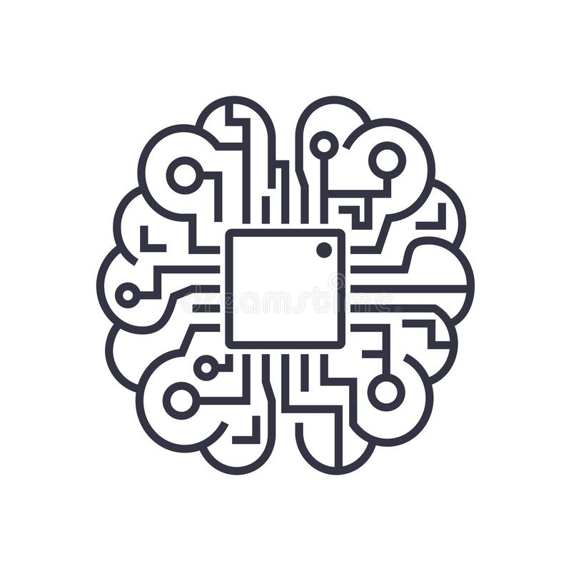 Artificial intelligence brain icon - vector AI technology concept symbol, design element. EPS 10 royalty free illustration
