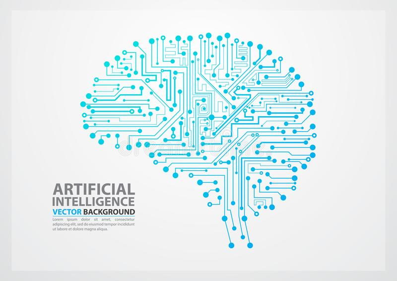 Artificial Intelligence brain illustration vector illustration