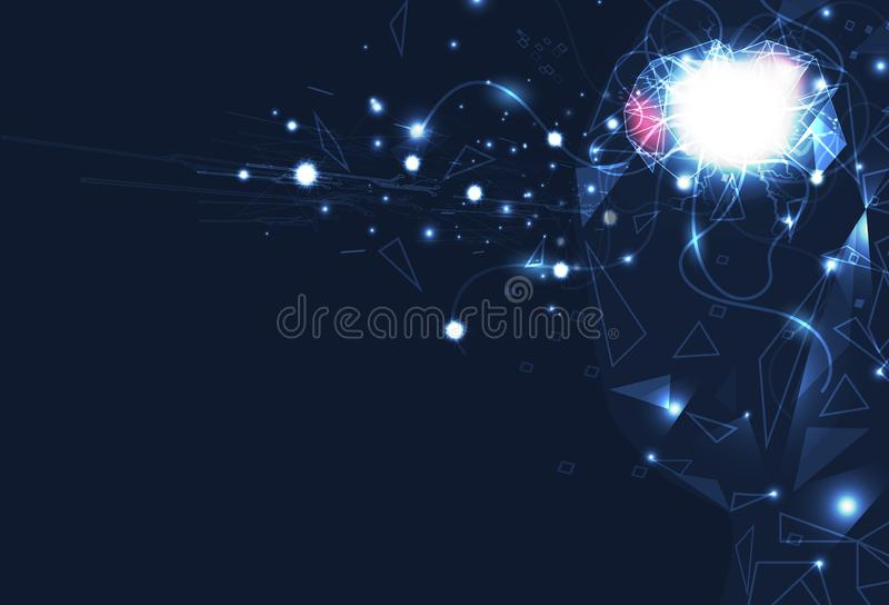 Artificial intelligence, Brain robot control, digital futuristics, nerve network with circuit perspective abstract background stock illustration