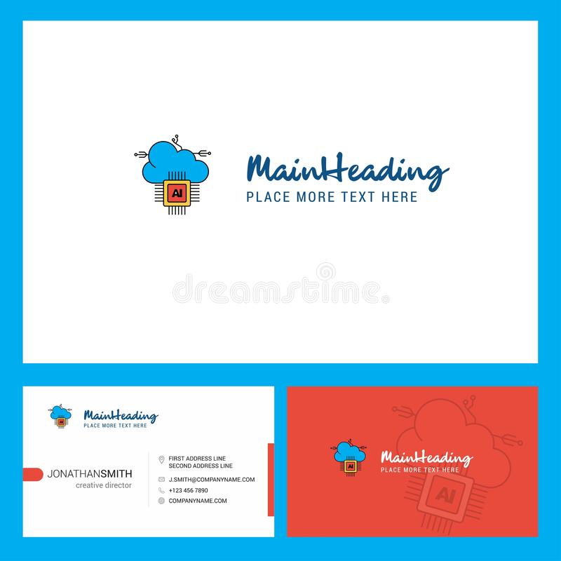 Artificial intelligence on cloud Logo design with Tagline & Front and Back Busienss Card Template. Vector Creative Design vector illustration