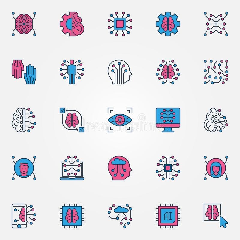 Artificial Intelligence colored icons set - AI technology signs vector illustration