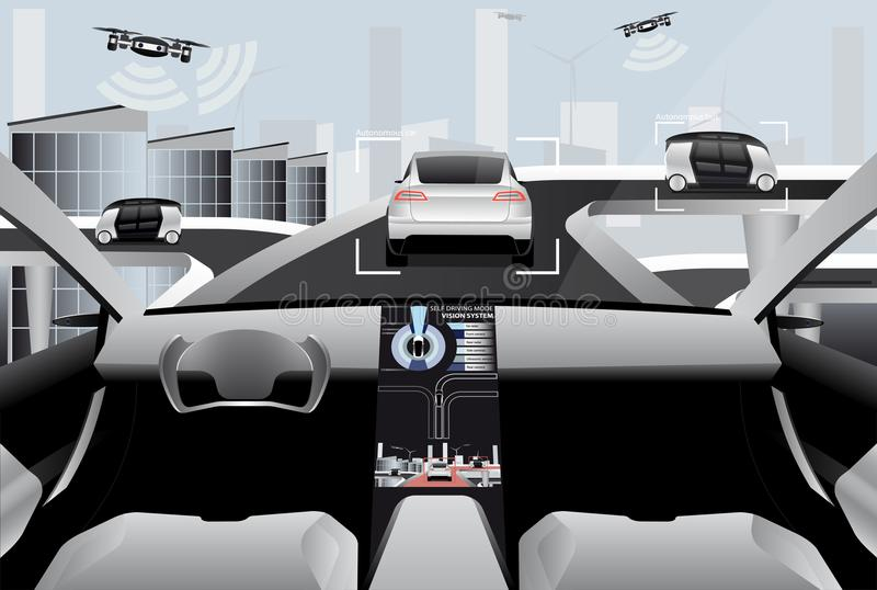 Artificial intelligence and communication between vehicles and drones. royalty free illustration