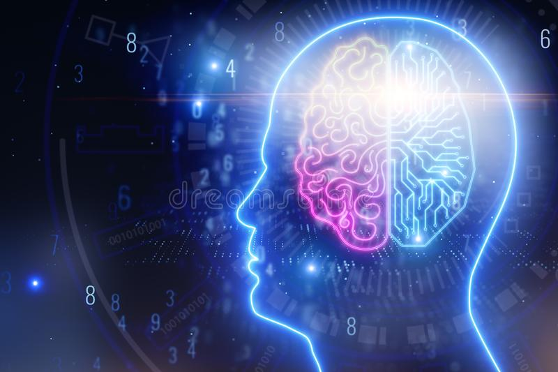 Artificial intelligence and computing concept royalty free illustration