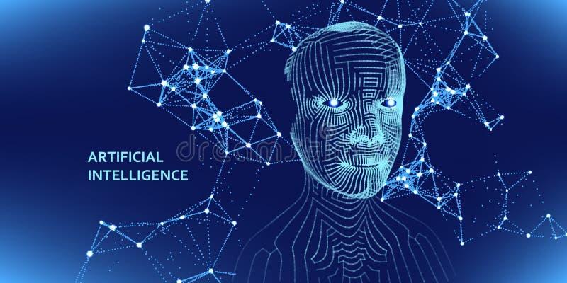 Artificial intelligence concept. Abstract digital 3d grid human face. Vector illustration vector illustration