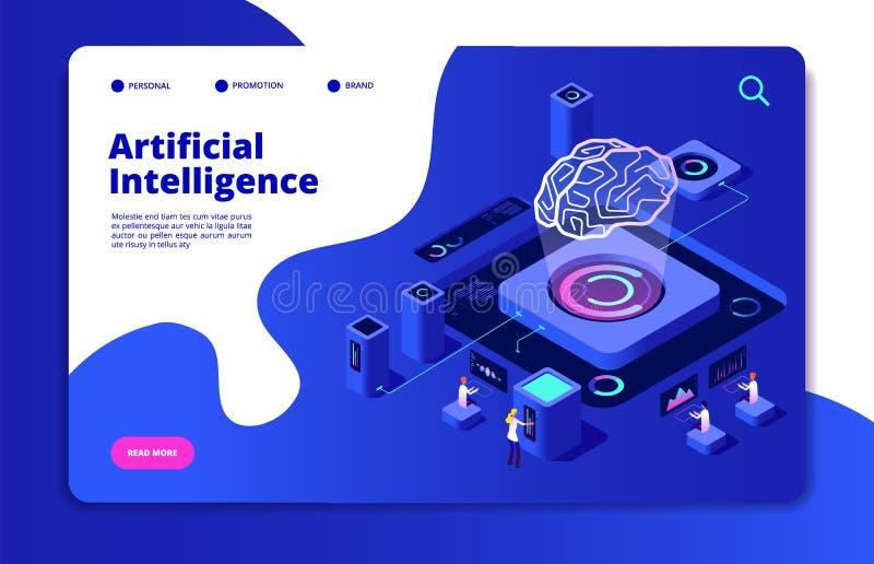 Artificial intelligence concept. Ai smart technology brain networking neural intelligent solutions futuristic landing vector illustration