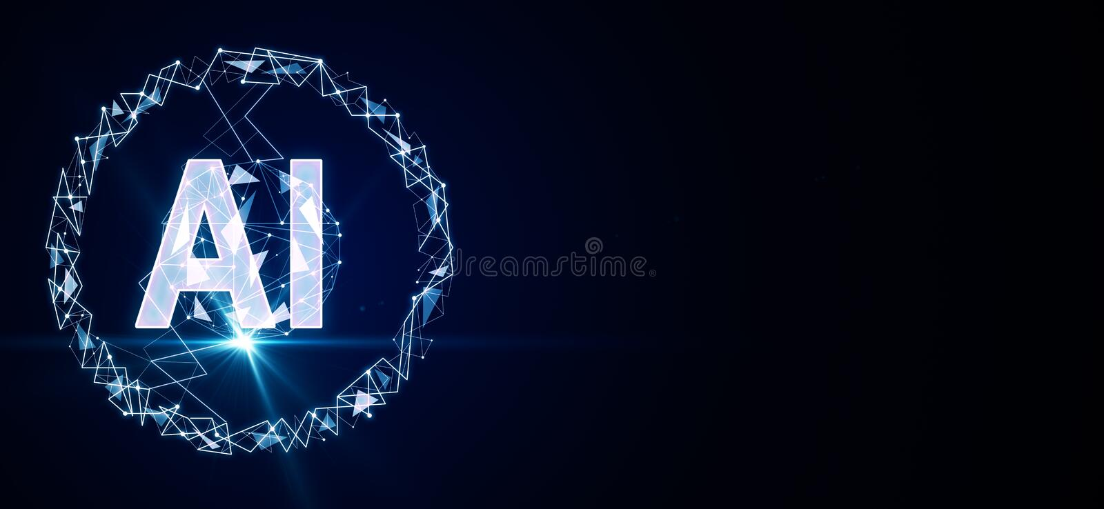 Artificial intelligence concept with big AI letters and blue flash at dark background stock illustration