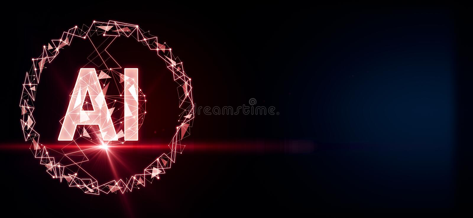 Artificial intelligence concept with big AI letters and red flash at dark background stock illustration