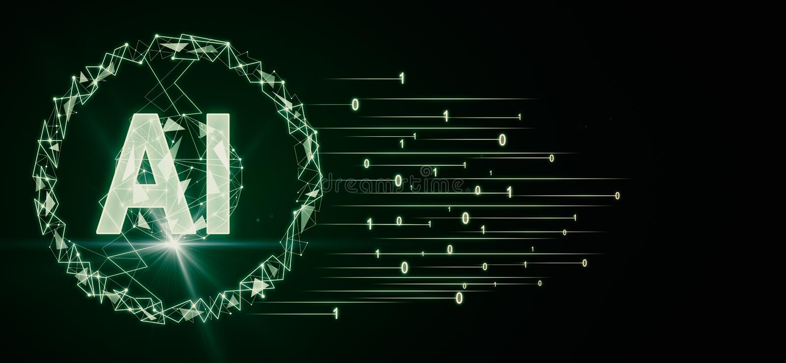 Artificial intelligence concept with big green color AI letters and abstract flying numbers at dark background royalty free illustration