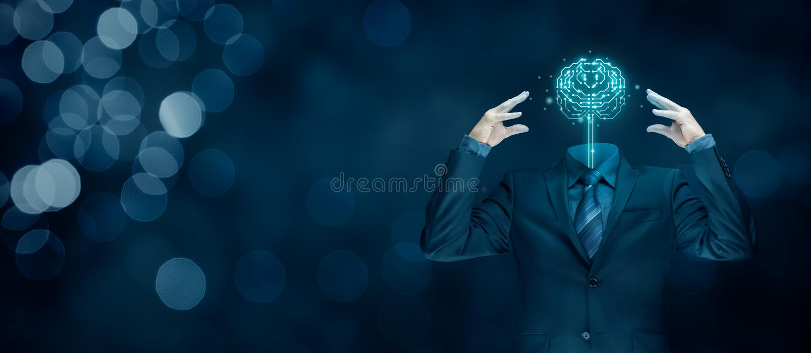 Artificial intelligence concept. Brain with printed circuit board & x28;PCB& x29; design and businessman representing artificial intelligence & x28;AI& x29 stock photo