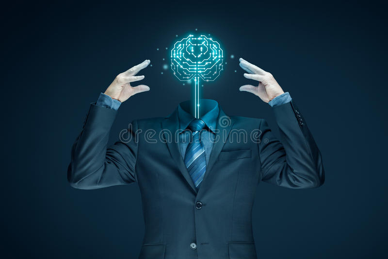 Artificial intelligence concept. Brain with printed circuit board PCB design and businessman representing artificial intelligence AI, data mining, genetic royalty free stock images