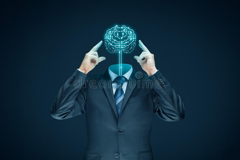 Artificial intelligence concept. Brain with printed circuit board PCB design and businessman representing artificial intelligence AI, data mining, genetic stock images