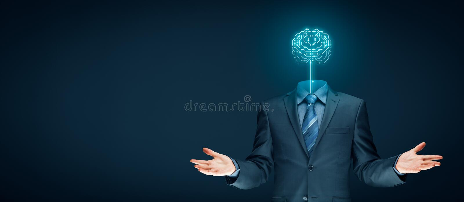 Artificial intelligence concept. Brain with printed circuit board PCB design and businessman representing artificial intelligence AI, data mining, machine and royalty free stock photo