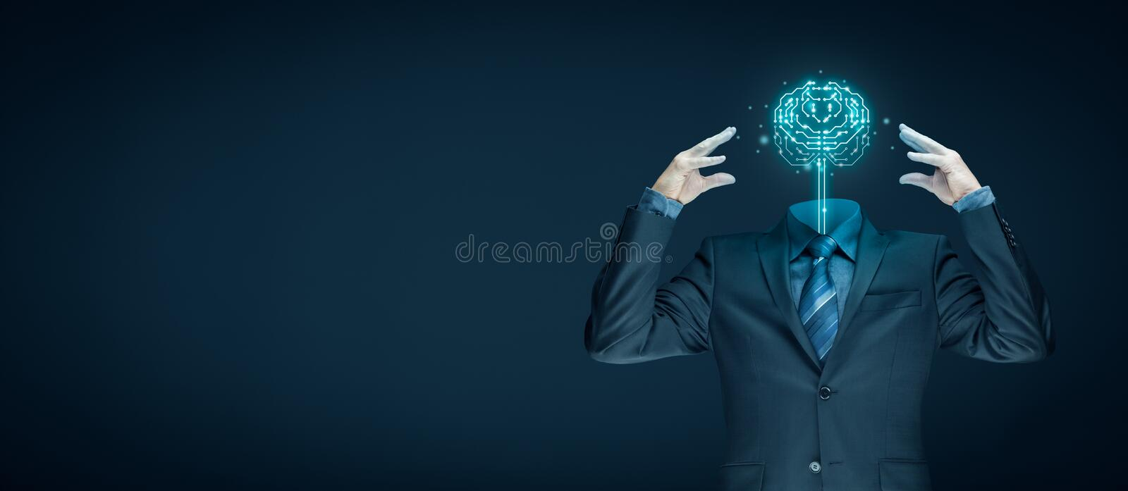 Artificial intelligence concept. Brain with printed circuit board PCB design and businessman representing artificial intelligence AI, data mining, machine and royalty free stock photography