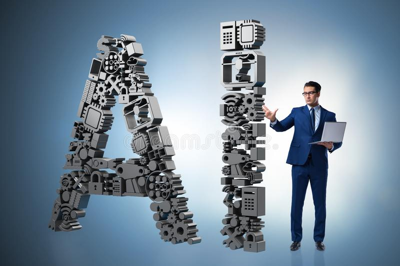 The artificial intelligence concept with businessman stock photos