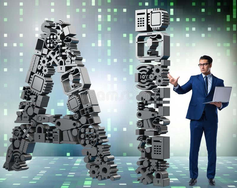 Artificial intelligence concept with businessman. The artificial intelligence concept with businessman royalty free stock images