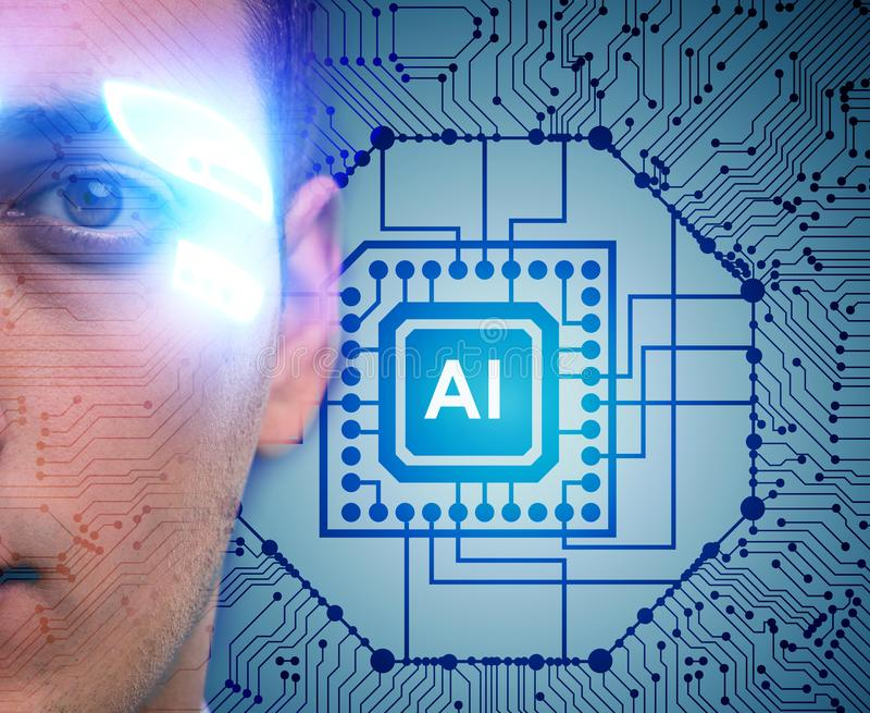 Artificial intelligence concept with businessman. The artificial intelligence concept with businessman stock photo