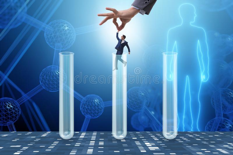 The artificial intelligence concept with businessman out of tube. Artificial intelligence concept with businessman out of tube royalty free stock photo
