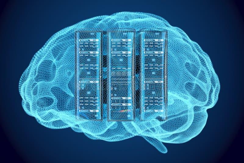 Artificial intelligence concept, Computer server racks inside br. Ain vector illustration