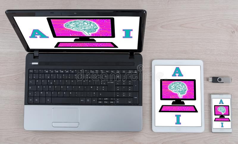 Artificial intelligence concept on different devices royalty free stock image